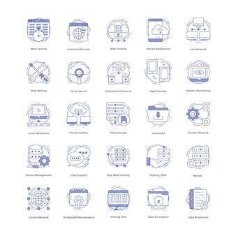 Pacote de ícones de hospedagem na web