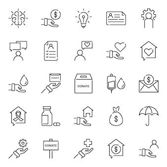 Pacote de ícones de humanidade, com estilo de ícone de estrutura de tópicos