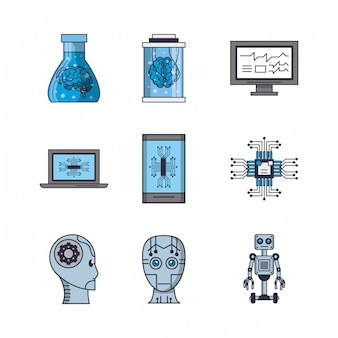 Pacote de ícones de inteligência artificial