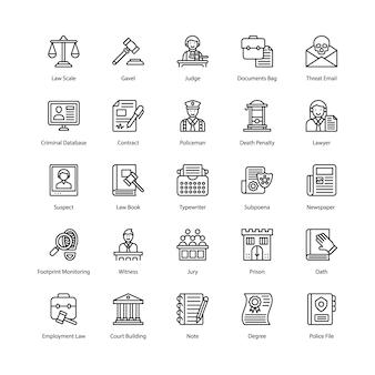 Pacote de ícones de lei e justiça