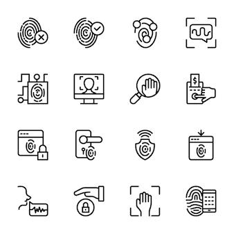 Pacote de ícones de linha biométrica
