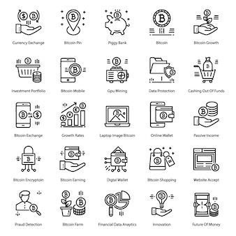 Pacote de ícones de linha bitcoin