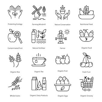 Pacote de ícones de linha de agricultura biológica