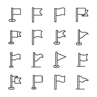 Pacote de ícones de linha de bandeira