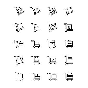 Pacote de ícones de linha de carrinho de bagagem