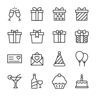Pacote de ícones de linha de comemoração de aniversário