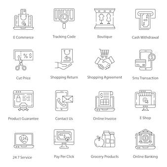 Pacote de ícones de linha de compras on-line
