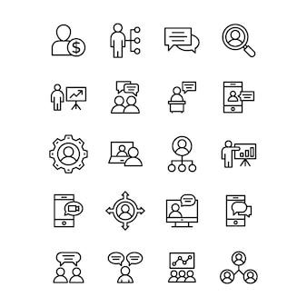 Pacote de ícones de linha de comunicação empresarial