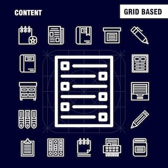 Pacote de ícones de linha de conteúdo para designers e desenvolvedores