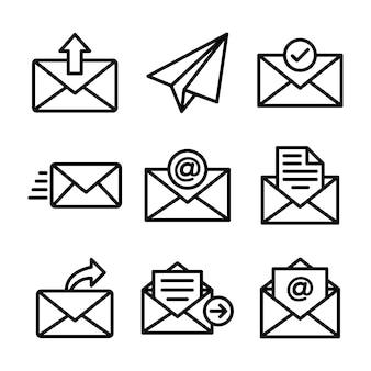 Pacote de ícones de linha de correio eletrônico