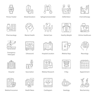Pacote de ícones de linha de cuidados de saúde