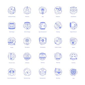 Pacote de ícones de linha de desenhos criativos