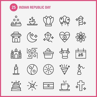 Pacote de ícones de linha de dia da república da índia