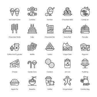 Pacote de ícones de linha de doces e sobremesas