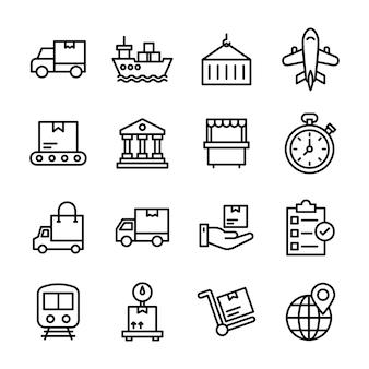 Pacote de ícones de linha de entrega de carga