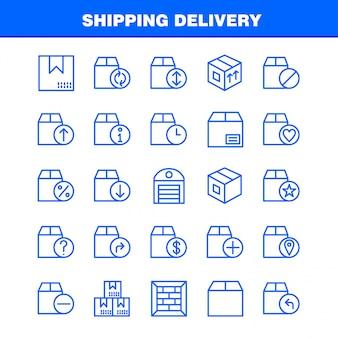 Pacote de ícones de linha de entrega de remessa