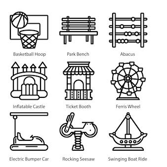 Pacote de ícones de linha de equipamentos de playground