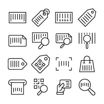 Pacote de ícones de linha de etiqueta de preço