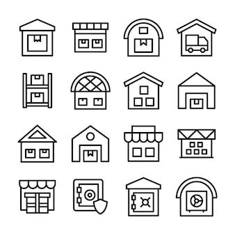 Pacote de ícones de linha de garagem de entrega