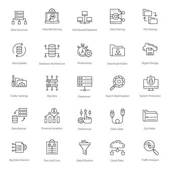 Pacote de ícones de linha de grande volume de dados