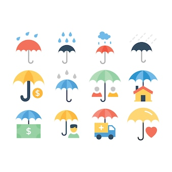 Pacote de ícones de linha de guarda-chuvas