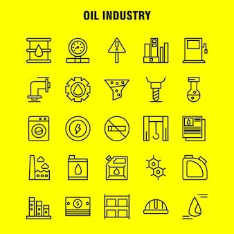 Pacote de ícones de linha de indústria de petróleo para designers