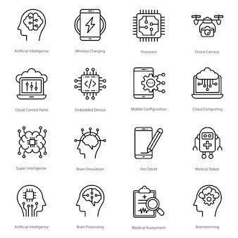 Pacote de ícones de linha de inteligência artificial