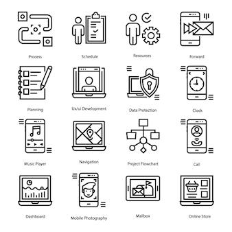Pacote de ícones de linha de interface do usuário
