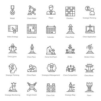 Pacote de ícones de linha de jogo de estratégia