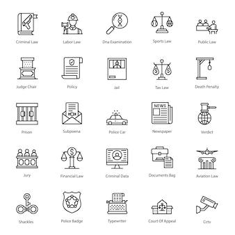 Pacote de ícones de linha de legislação governamental