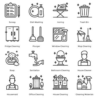 Pacote de ícones de linha de limpeza de casa