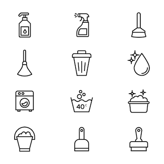 Pacote de ícones de linha de limpeza doméstica
