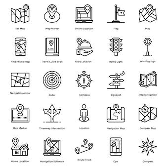 Pacote de ícones de linha de navegação, mapa e direção