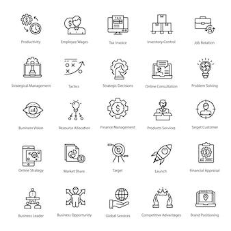 Pacote de ícones de linha de negócios e finanças