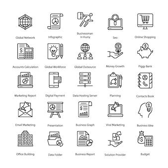 Pacote de ícones de linha de negócios e rh