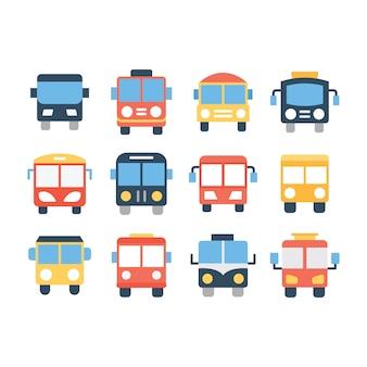 Pacote de ícones de linha de ônibus escolar