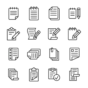Pacote de ícones de linha de papelaria