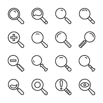Pacote de ícones de linha de pesquisa