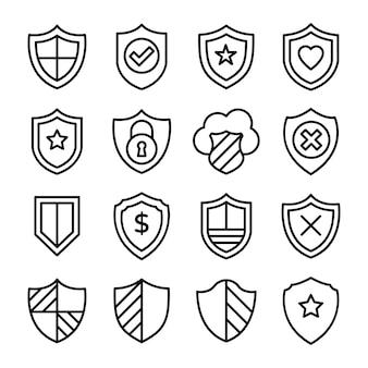 Pacote de ícones de linha de proteção financeira