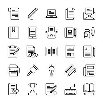 Pacote de ícones de linha de redação