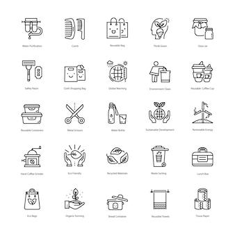 Pacote de ícones de linha de resíduos zero