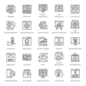 Pacote de ícones de linha de seo