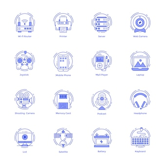 Pacote de ícones de linha de tecnologia