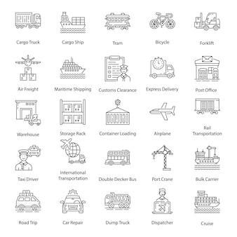 Pacote de ícones de linha de transporte de entrega
