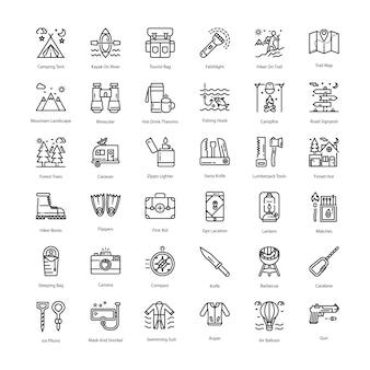 Pacote de ícones de linha de turismo