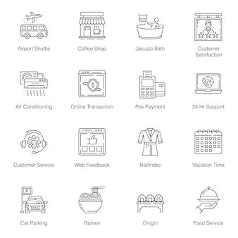 Pacote de ícones de linha de viagem de verão
