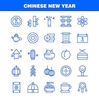 Pacote de ícones de linha do ano novo chinês