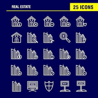 Pacote de ícones de linha imobiliária