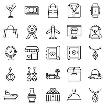 Pacote de ícones de loja de luxo, com estilo de ícone de estrutura de tópicos
