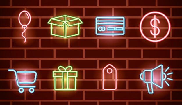 Pacote de ícones de luzes de néon